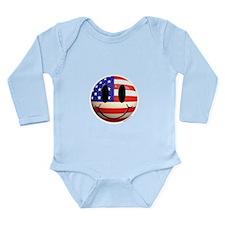 July 4th Smiley 2 Long Sleeve Infant Bodysuit