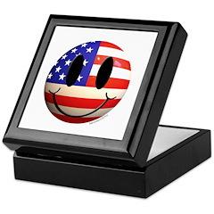 July 4th Smiley 2 Keepsake Box