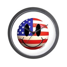 July 4th Smiley 2 Wall Clock