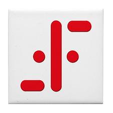 V Symbol Visitors TV Red Tile Coaster