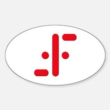 V Symbol Visitors TV Red Sticker (Oval)