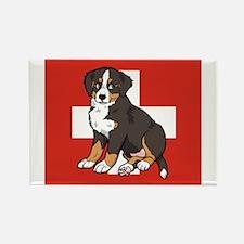 Sitting Bernese Puppy (Swiss) Rectangle Magnet