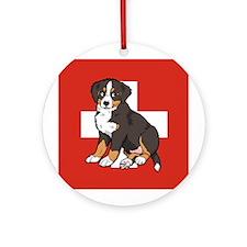 Sitting Bernese Puppy (Swiss) Ornament (Round)