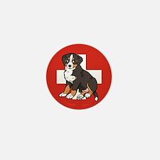 Sitting Bernese Puppy (Swiss) Mini Button