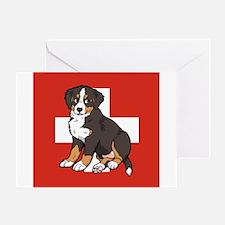 Sitting Bernese Puppy (Swiss) Greeting Card