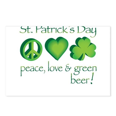 Peace, Love & Green Beer! Postcards (Package o