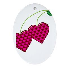Valentine's Day Cherries Ornament (Oval)