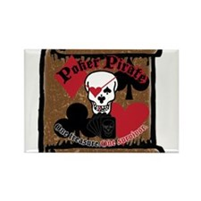 Poker Pirate Scroll Rectangle Magnet