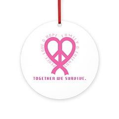 PeaceLoveRibbon_1 Ornament (Round)