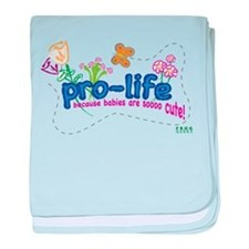 Pro-Life Flowers & Butterfly baby blanket