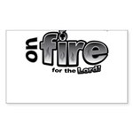 On Fire for the Lord 2 black Sticker (Rectangle 50