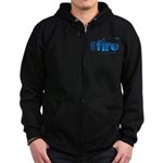 On Fire for the Lord 2 blue Zip Hoodie (dark)