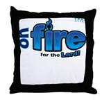 On Fire for the Lord 2 blue Throw Pillow