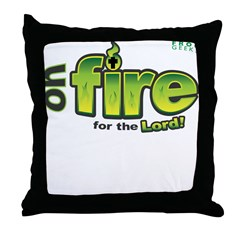 On Fire for the Lord 2 green Throw Pillow