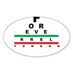 FROG eyechart Sticker (Oval 10 pk)