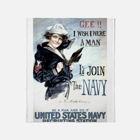 I Wish Navy Throw Blanket