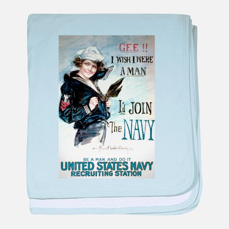 I Wish Navy baby blanket