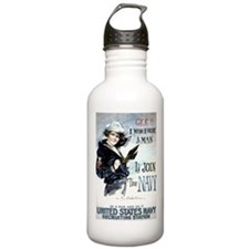 I Wish Navy Water Bottle