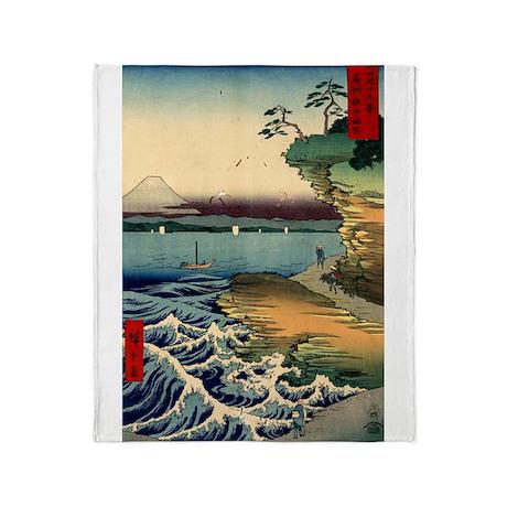 Japanese Ukiyo-e Mt. Fuji Throw Blanket