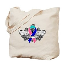 Survivor Wings Thyroid Cancer Tote Bag
