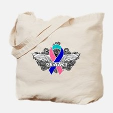 Survivor Wings Thyroid Cancer Tote Bag