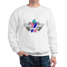 Survivor Wings Thyroid Cancer Sweatshirt