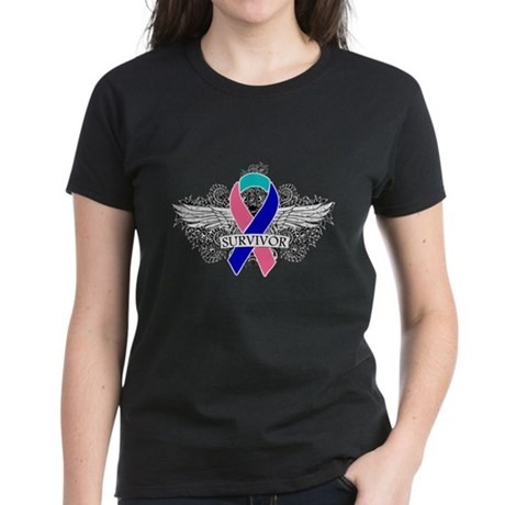 Survivor Wings Thyroid Cancer Women's Dark T-Shirt