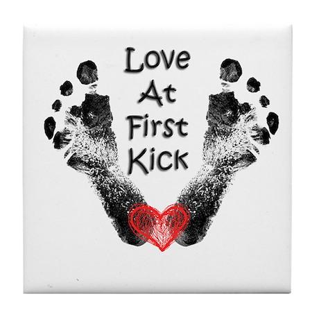 Love At First Kick Tile Coaster