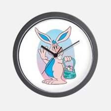 Funny Pink Easter Bunny Wall Clock