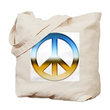 Blue and Gold Peace Sign Tote Bag