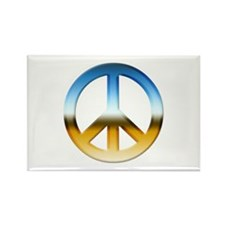 Blue and Gold Peace Sign Rectangle Magnet