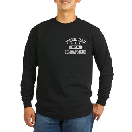 Proud Combat Medic Dad Long Sleeve Dark T-Shirt