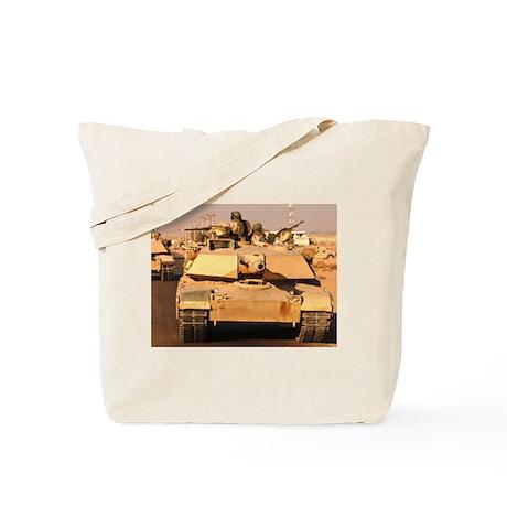 M1A1 Abrams MBT patrol route Tote Bag