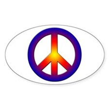 Cool Peace Sign Oval Decal