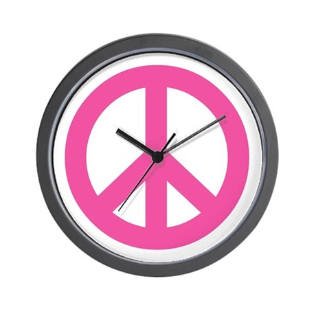 Hot Pink Peace Sign Wall Clock