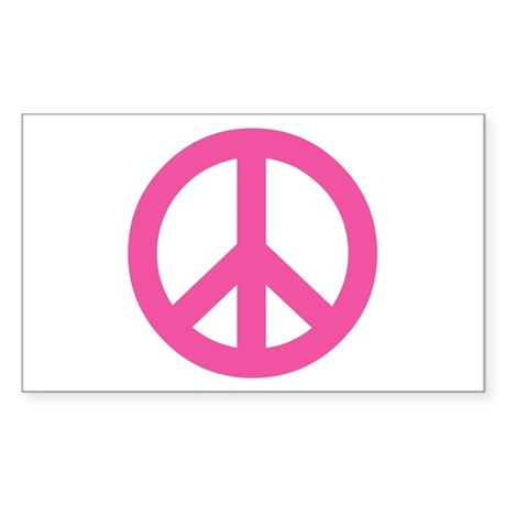 Hot Pink Peace Sign Rectangle Sticker