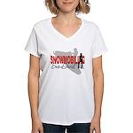 Snowmobiling Sno-Devil Women's V-Neck T-Shirt