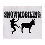 Snowmobiling Kicks Donkey Throw Blanket