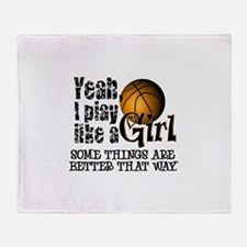 Play Like a Girl - Basketball Throw Blanket