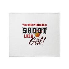 Basketball - Shoot Like a Girl Throw Blanket
