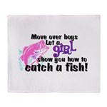 Move Over Boys - Fish Throw Blanket