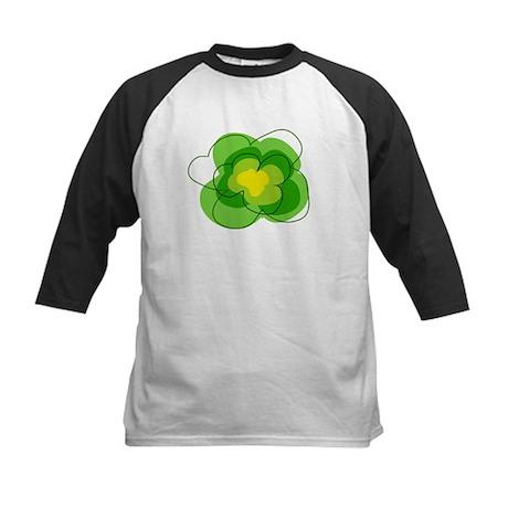 Green Flower Kids Baseball Jersey