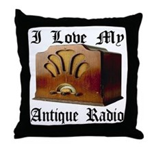 I Love My Antique Radio Throw Pillow