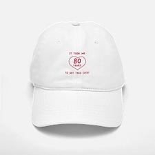 Funny 80th Birthday (Heart) Baseball Baseball Cap