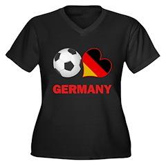 German Soccer Fan Women's Plus Size V-Neck Dark T-