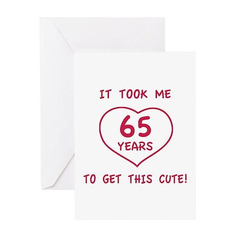 Funny 65th Birthday (Heart) Greeting Card