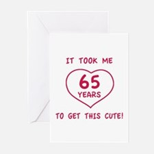 Funny 65th Birthday (Heart) Greeting Cards (Pk of