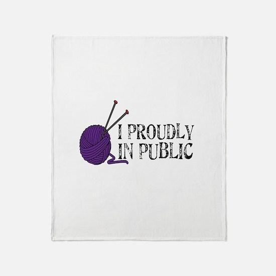 Public Knitting Throw Blanket