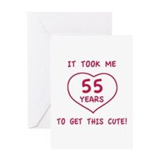 Funny 55th Birthday (Heart) Greeting Card