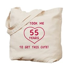 Funny 55th Birthday (Heart) Tote Bag